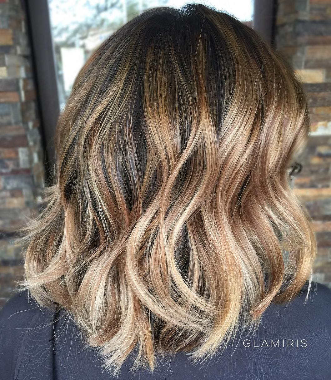 Light Brown Balayage Shoulder Bob with Dark Roots