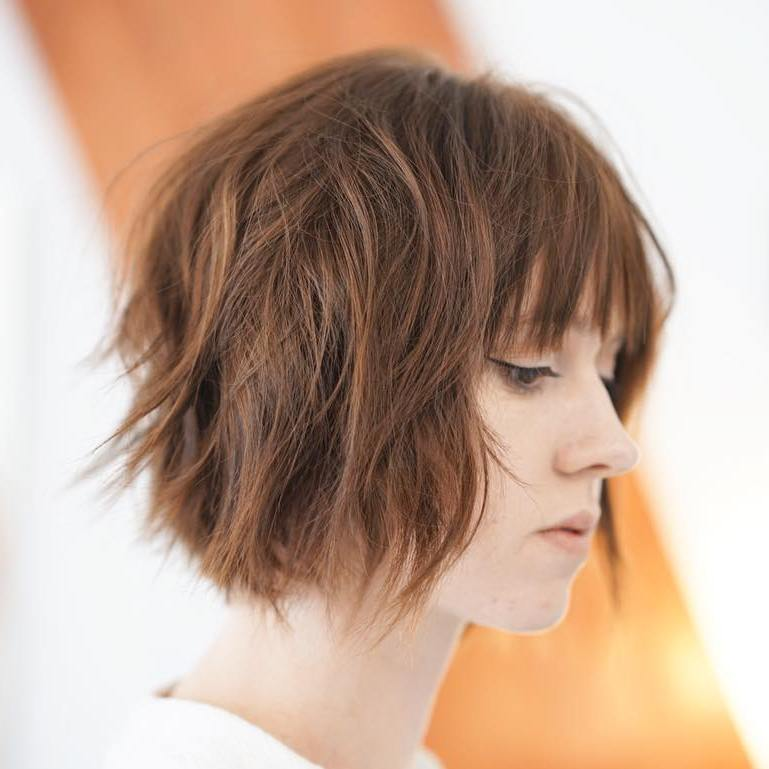 Short Brown Bob Shag with Bangs