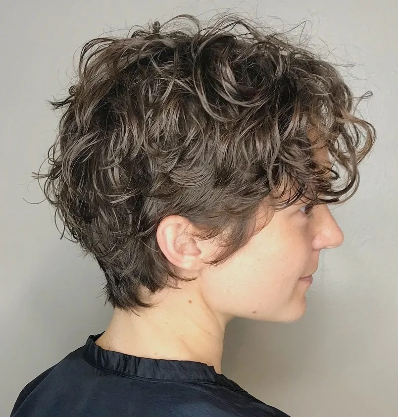 Short Curly Hairstyle with Layers for Fine Hair