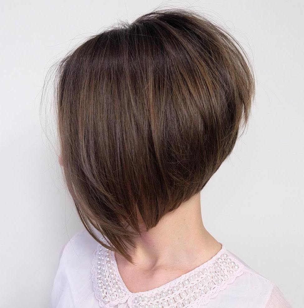 Steeply Angled Stacked Brown Bob with Layers