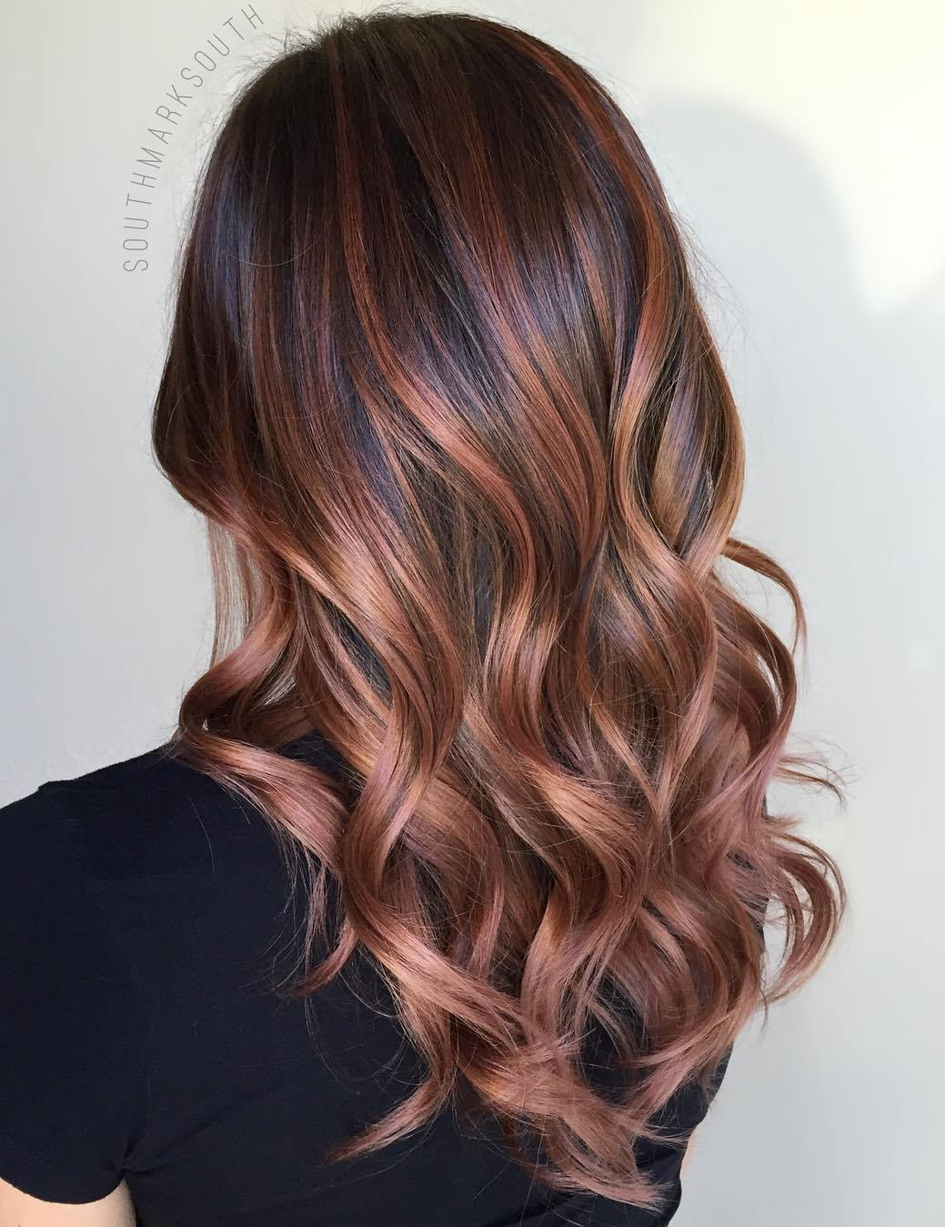 Copper and Rosewood Balayage for Dark Brunettes