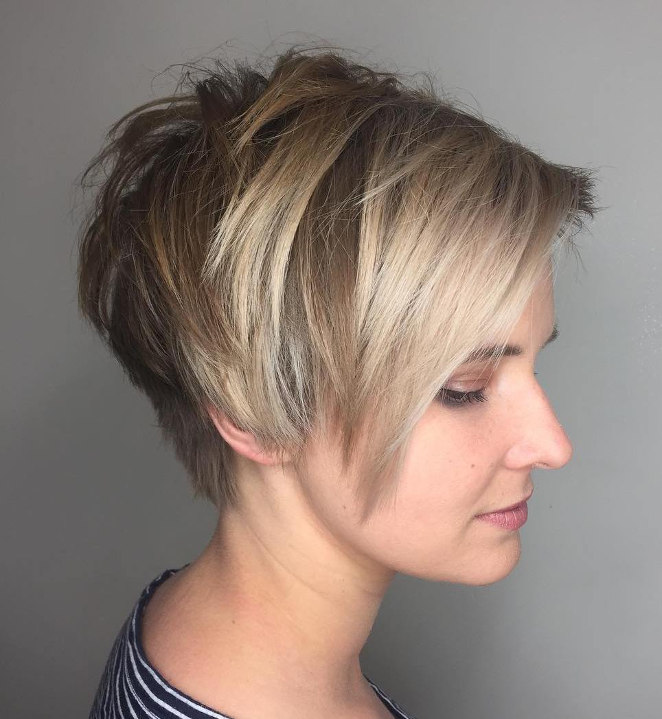 Layered Brown Pixie with Ash Blonde Bangs