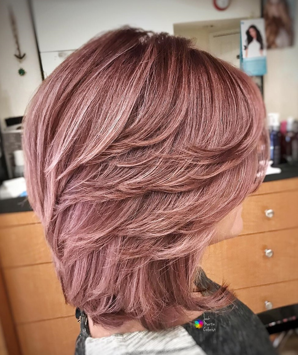 Rose Gold Layered Cut for Thick Hair