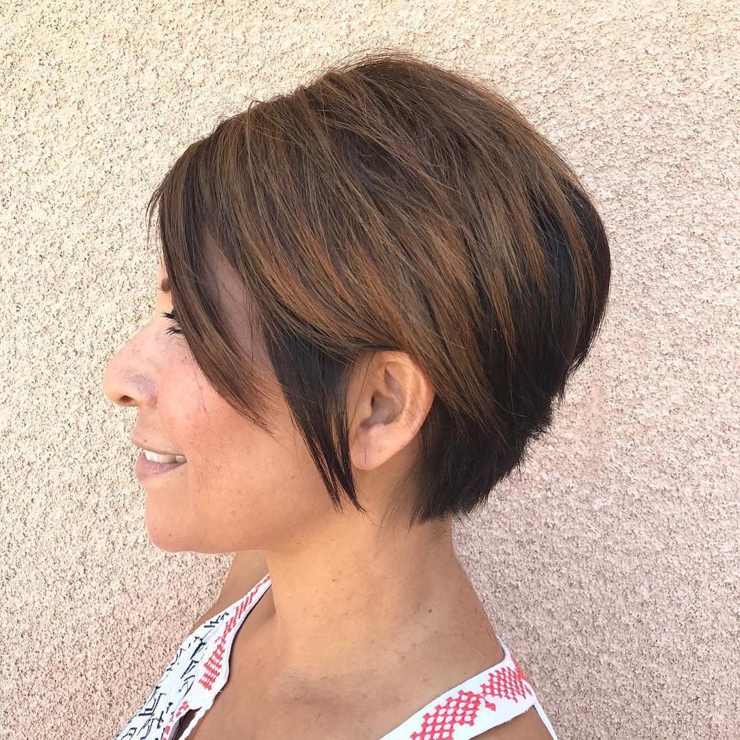 Longer Dark Brunette Highlighted Short Cut