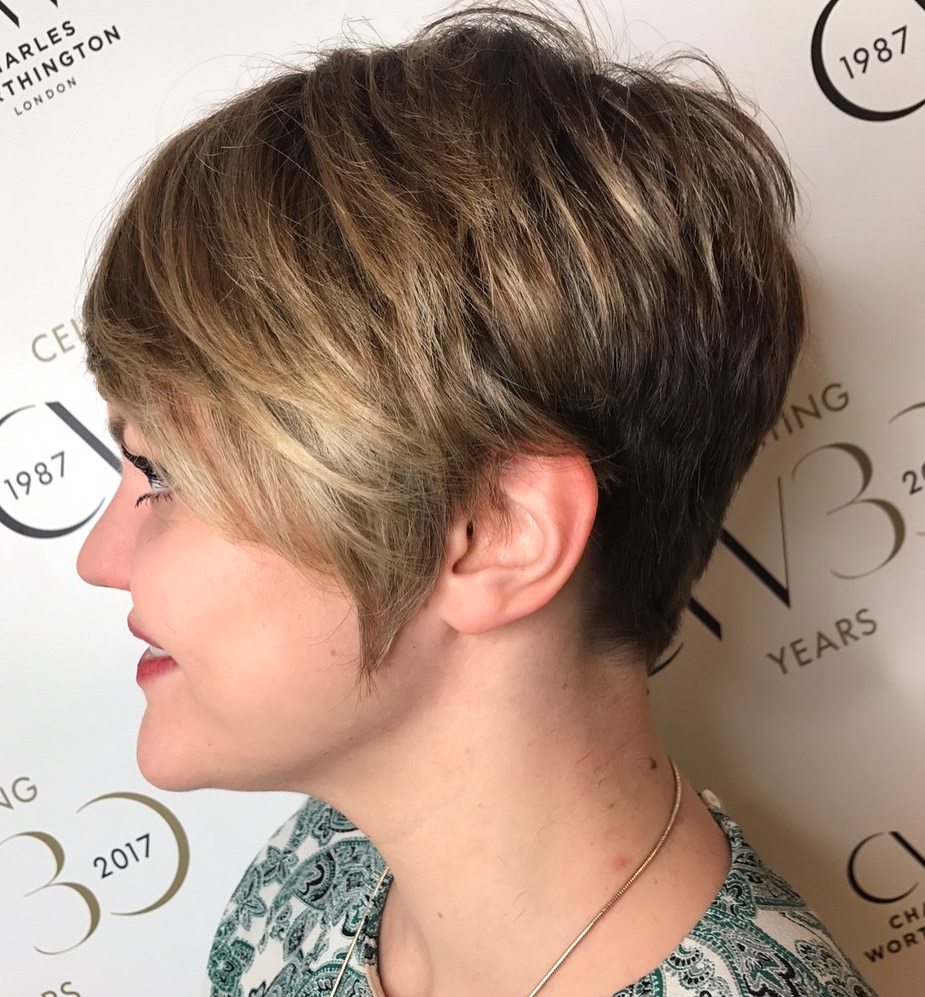 Short Feathered Pixie with Balayage