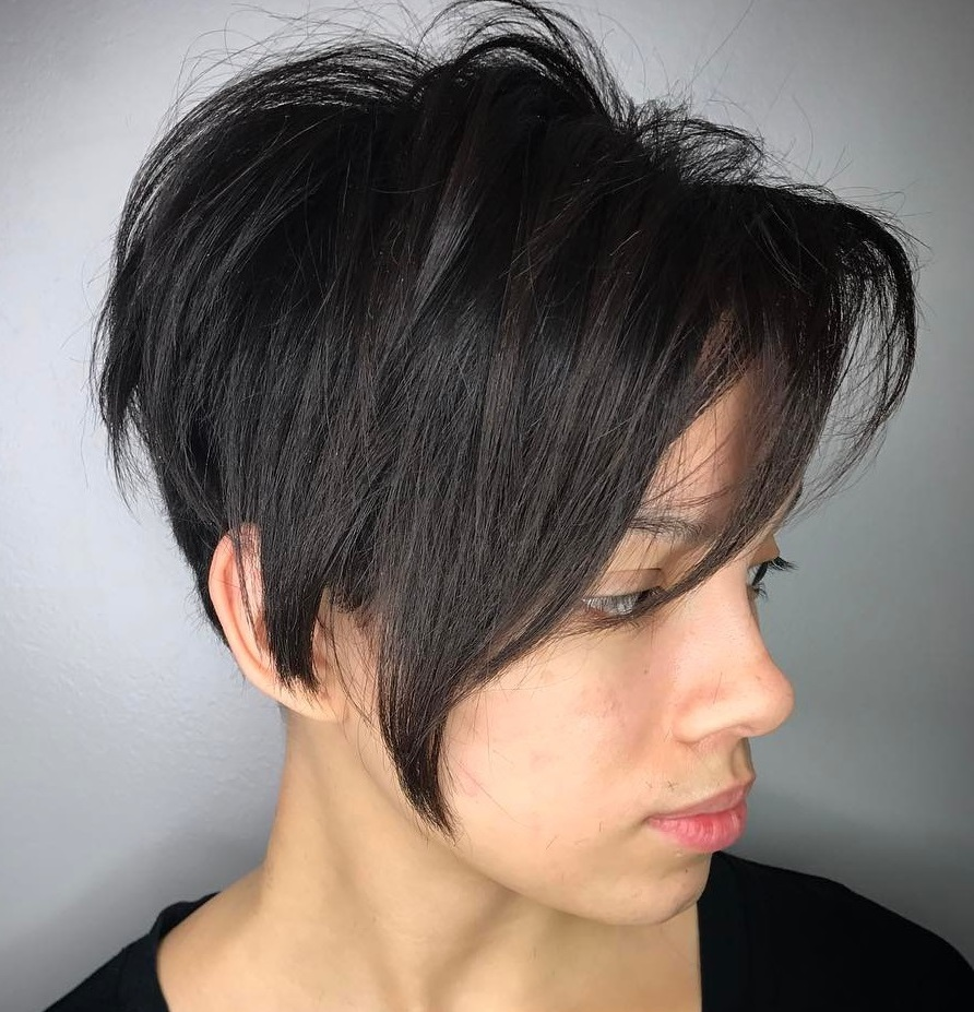 Black Asymmetrical Undercut Pixie