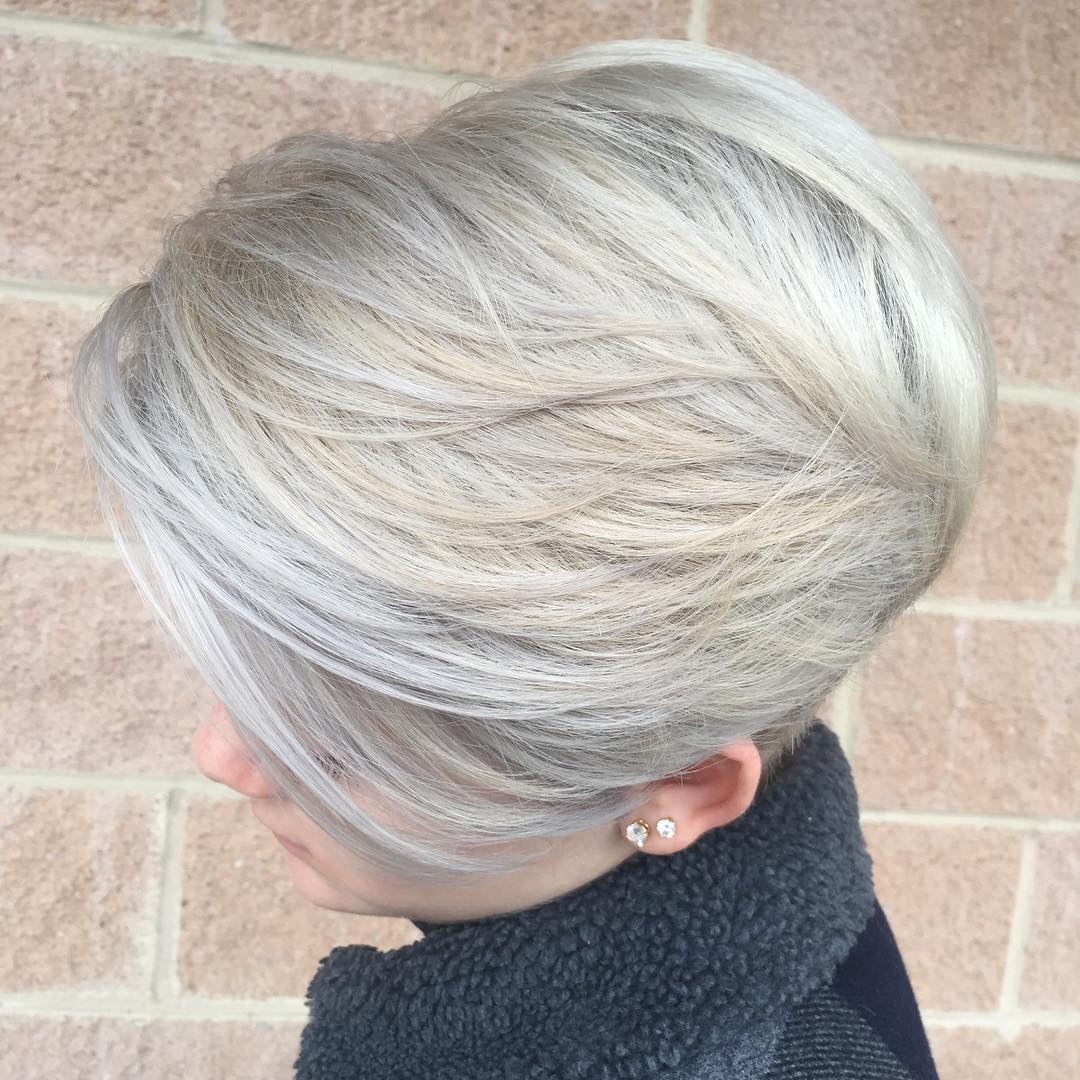 Short Silver Gray Haircut with Layers