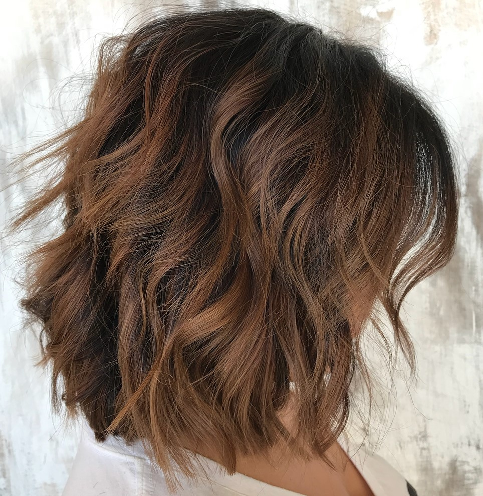 Dark Wavy Bob with Warm Brown Undertones