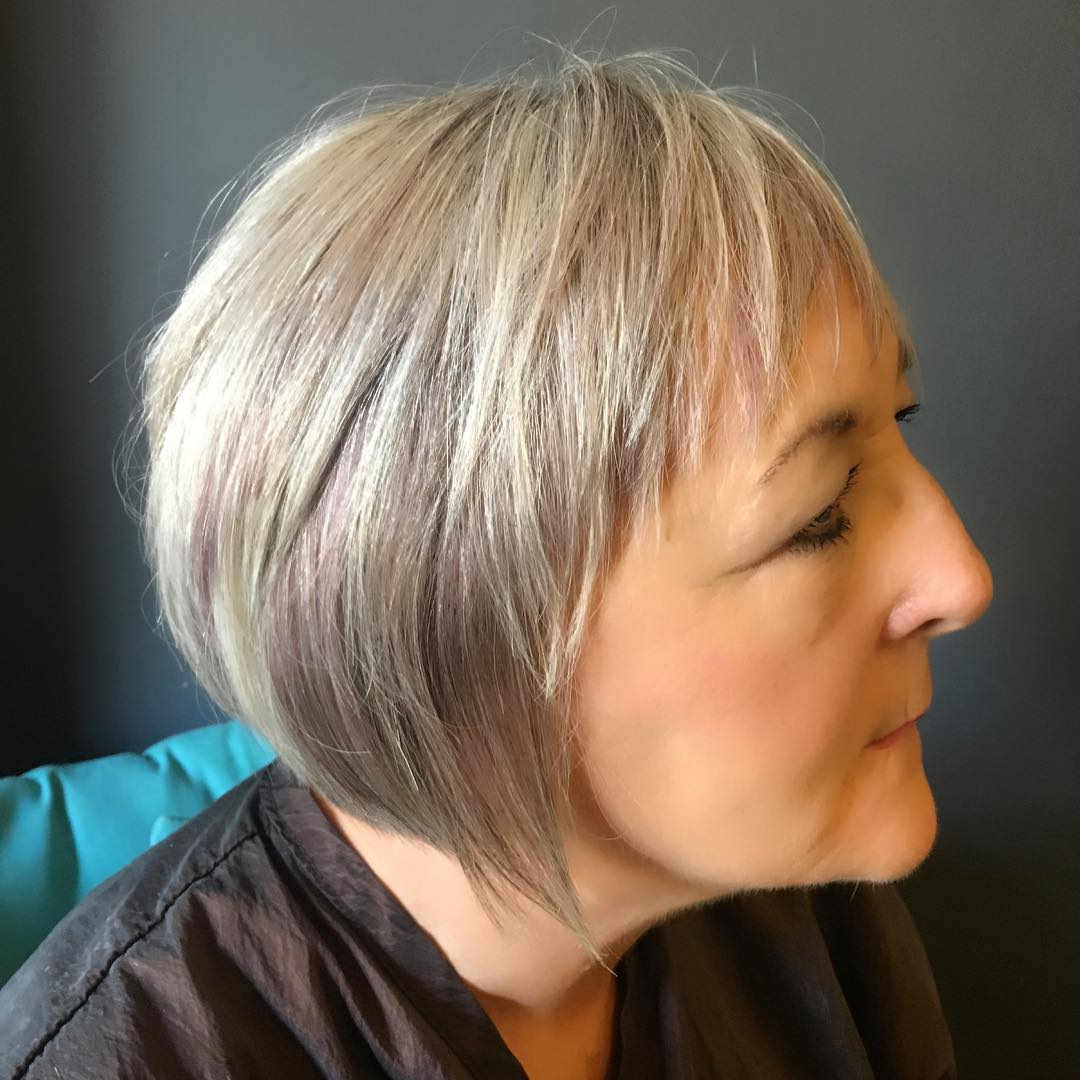 Silver Gray with Lilac Razored Bob for Fine Hair