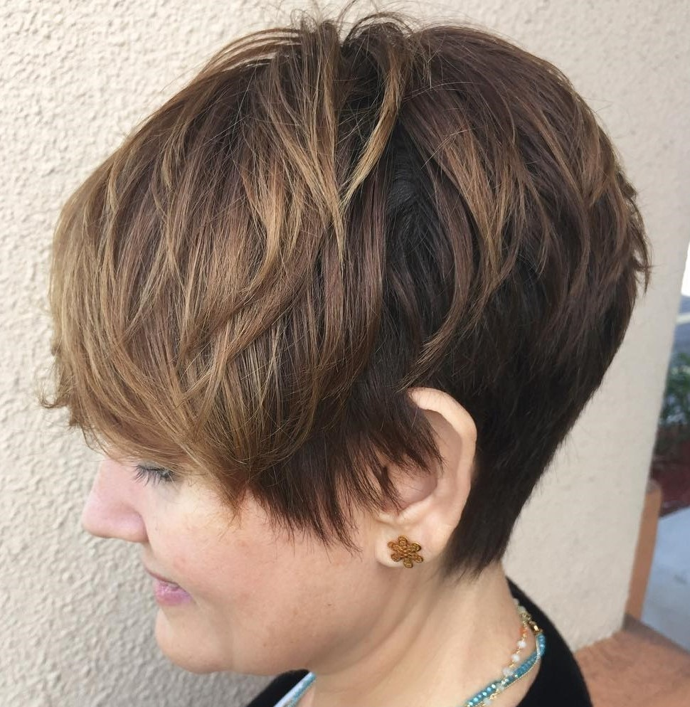 Layered Brown Pixie with Subtle Balayage