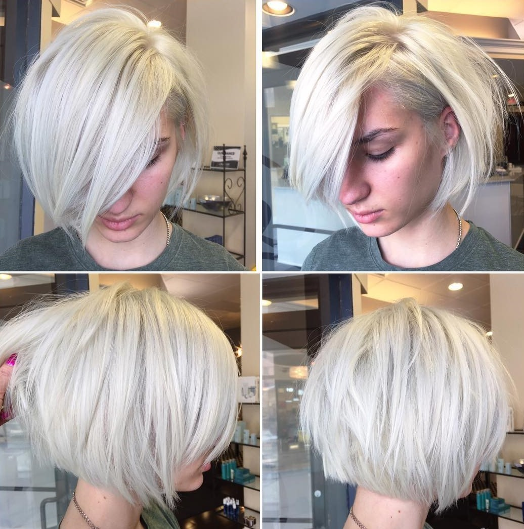 White Blonde Layered Side-Parted Bob