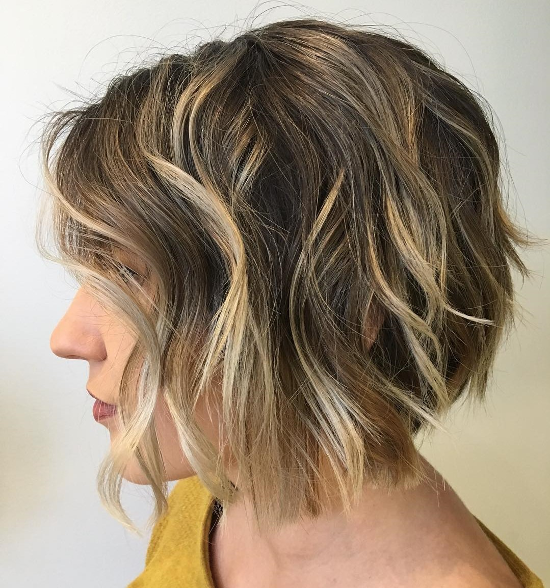 Brown Wavy Bob with Partial Blonde Balayage and Layers