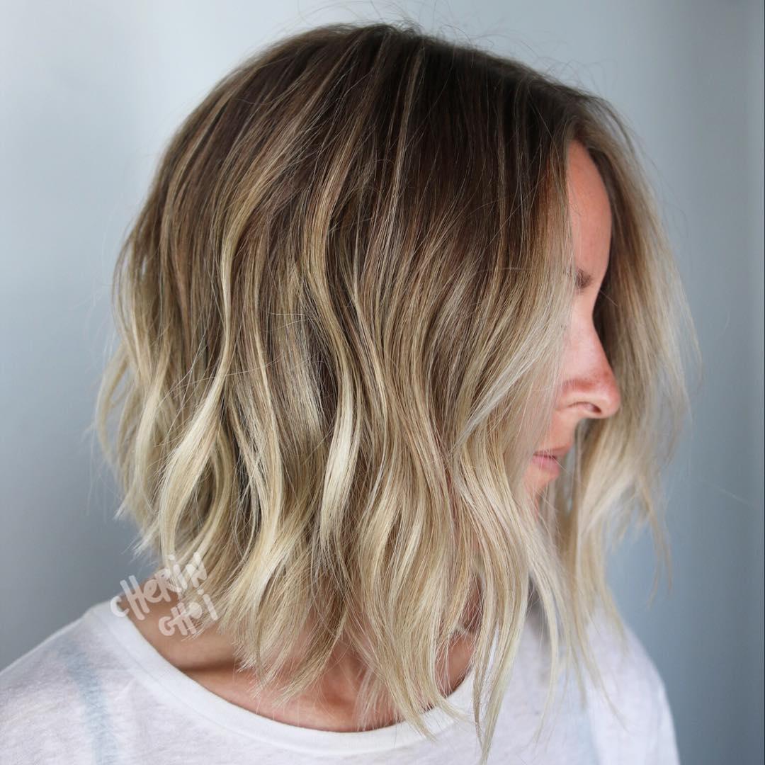 Messy Wavy Bronde Long Bob for Fine Hair