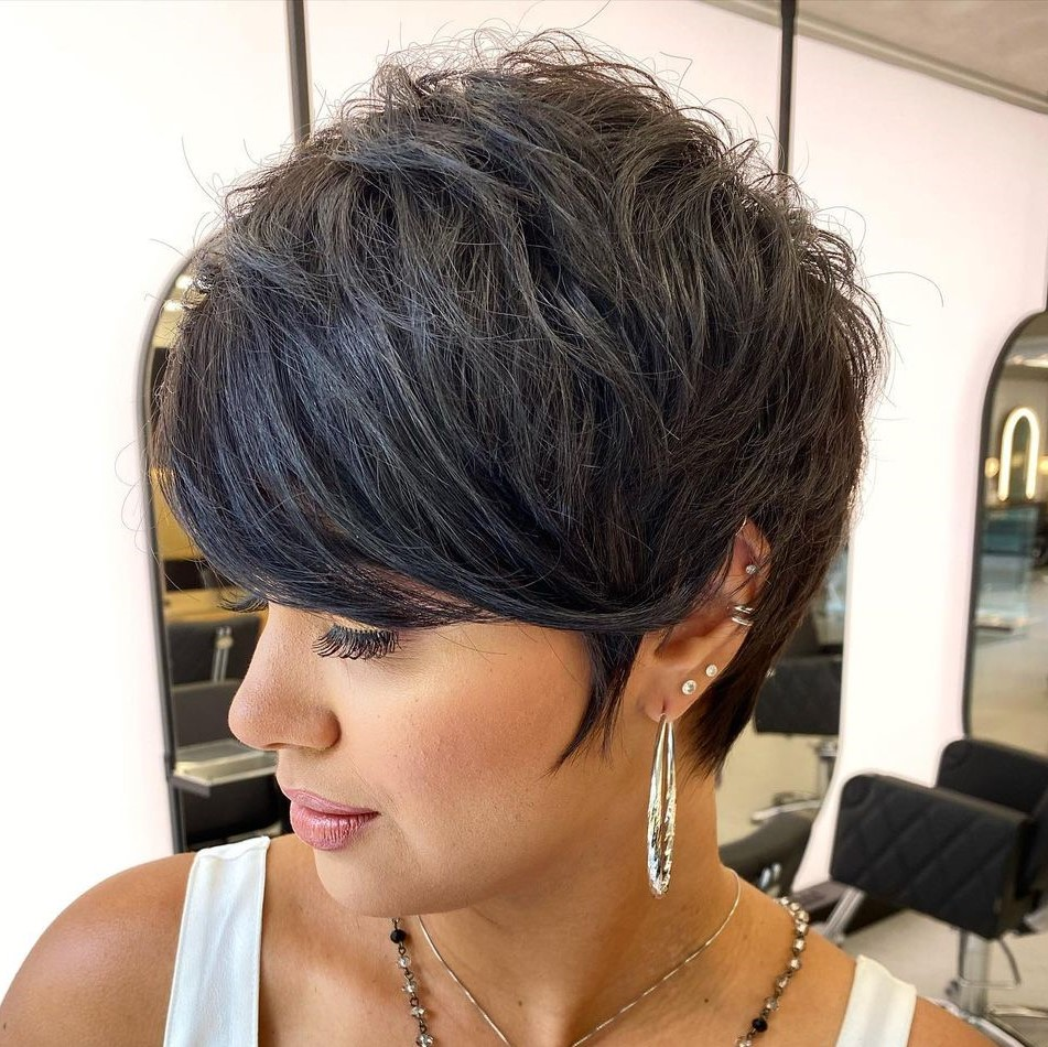 Modern Feathered Pixie with Bangs