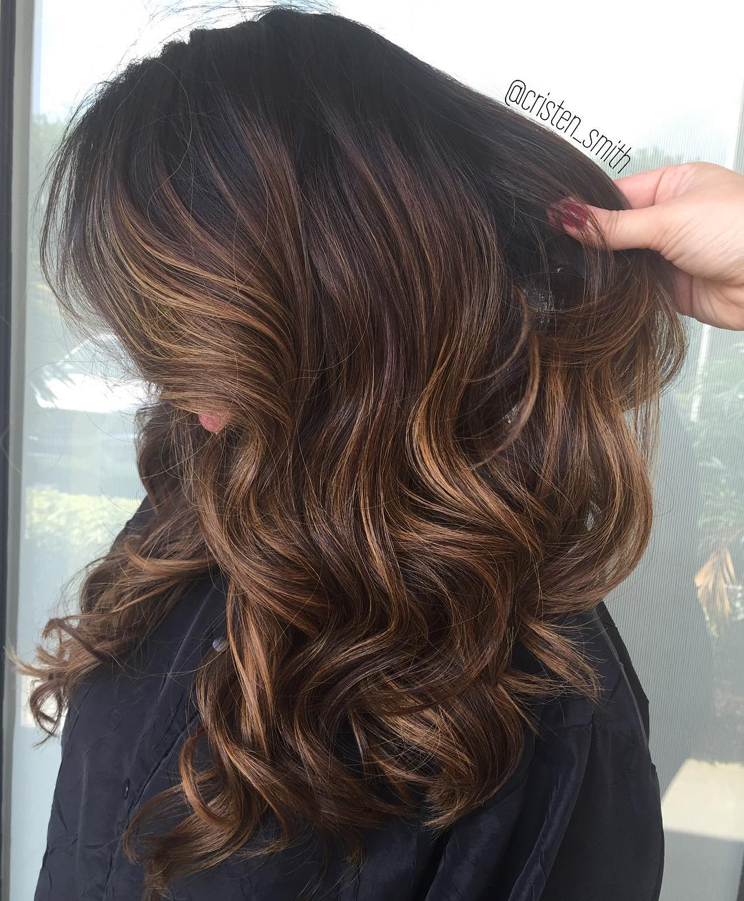 Chocolate Brown & Caramel Mocha Balayage with Black Roots