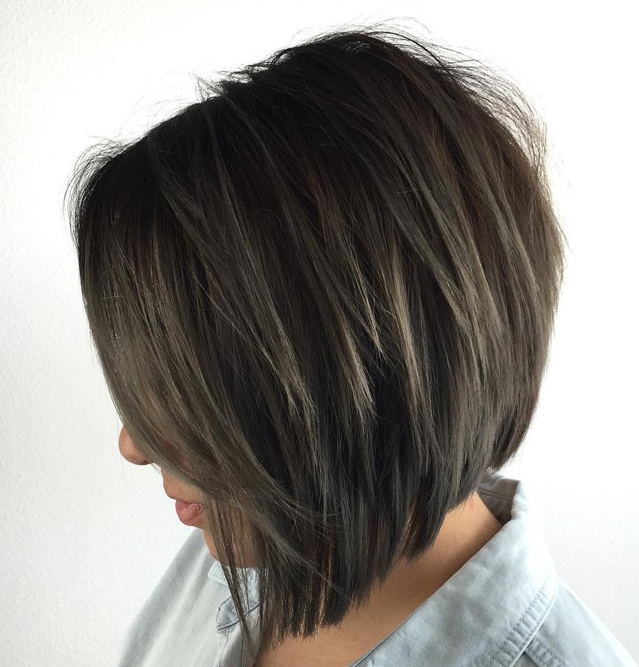 Sliced Angled Asymmetrical Brunette Bob