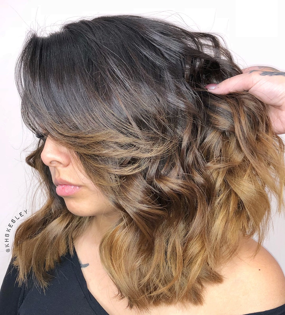 Ombre Lob for Thick Curly Hair