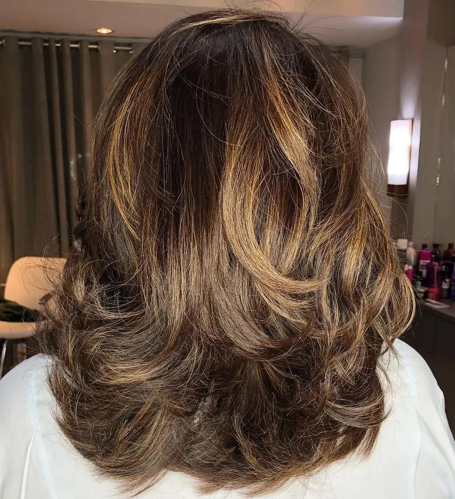 Medium Caramel Brown Hairstyle with Layers