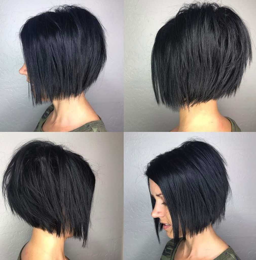 Inverted Ebony Black Layered Bob