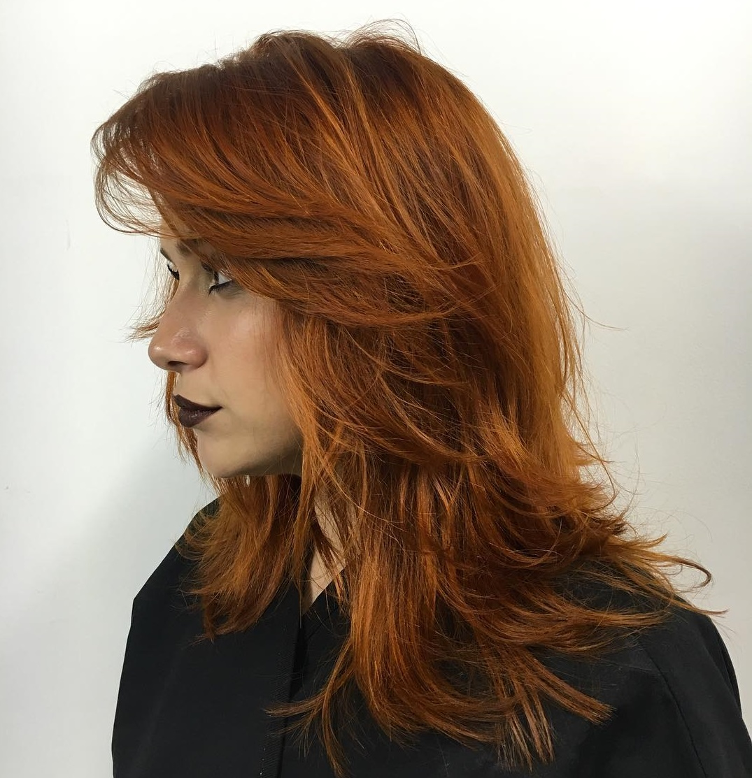 Medium Copper Shag with Layered Bangs