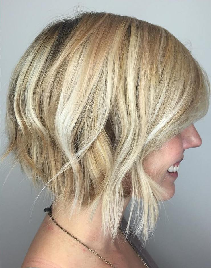Inverted Blonde Bob Hairstyle with Waves