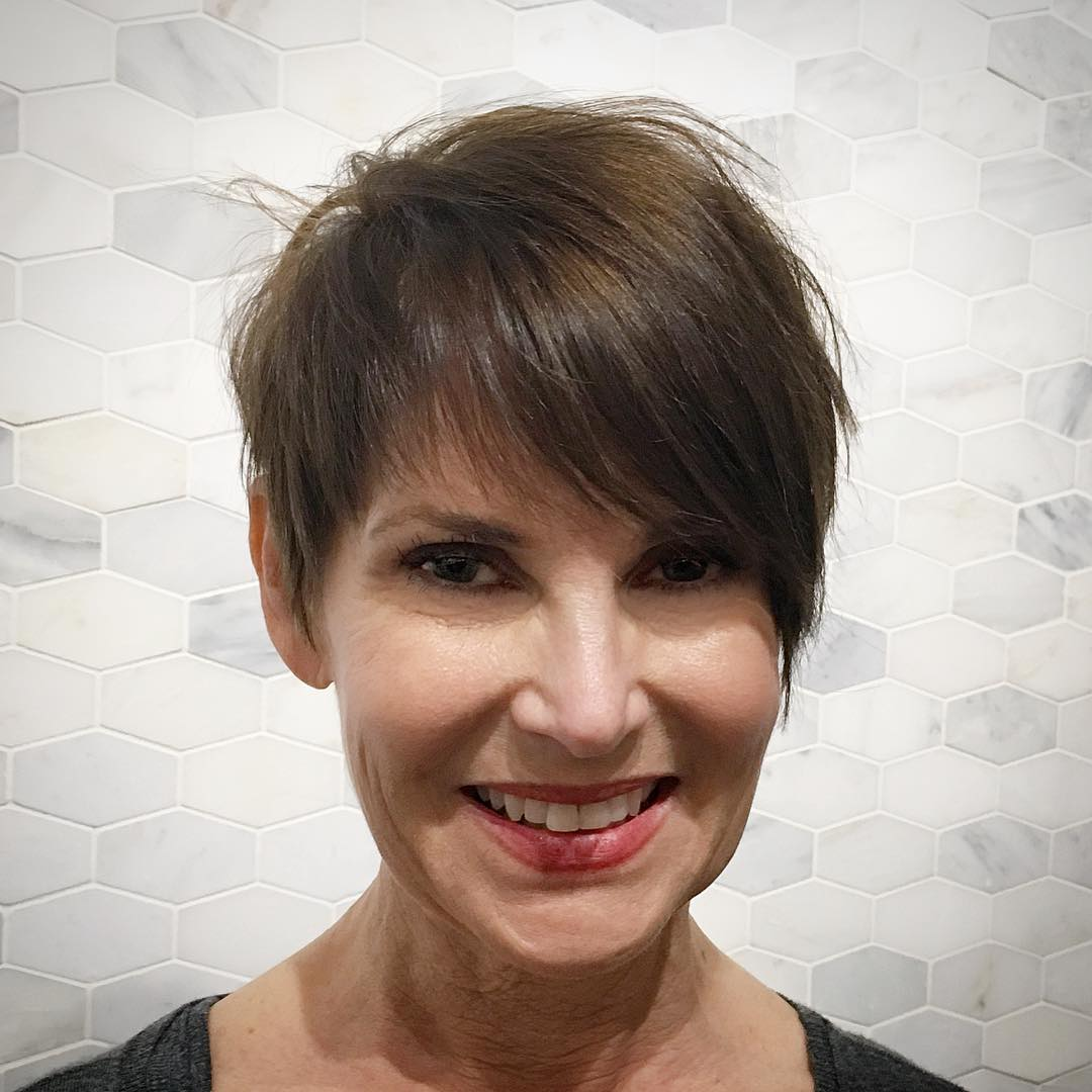 Feathered Brunette Pixie with Side-Swept Bangs
