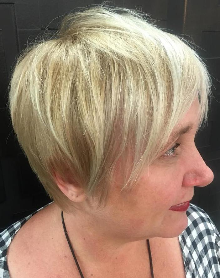 50+ Long Fine Blonde Pixie for Plus-Size Women