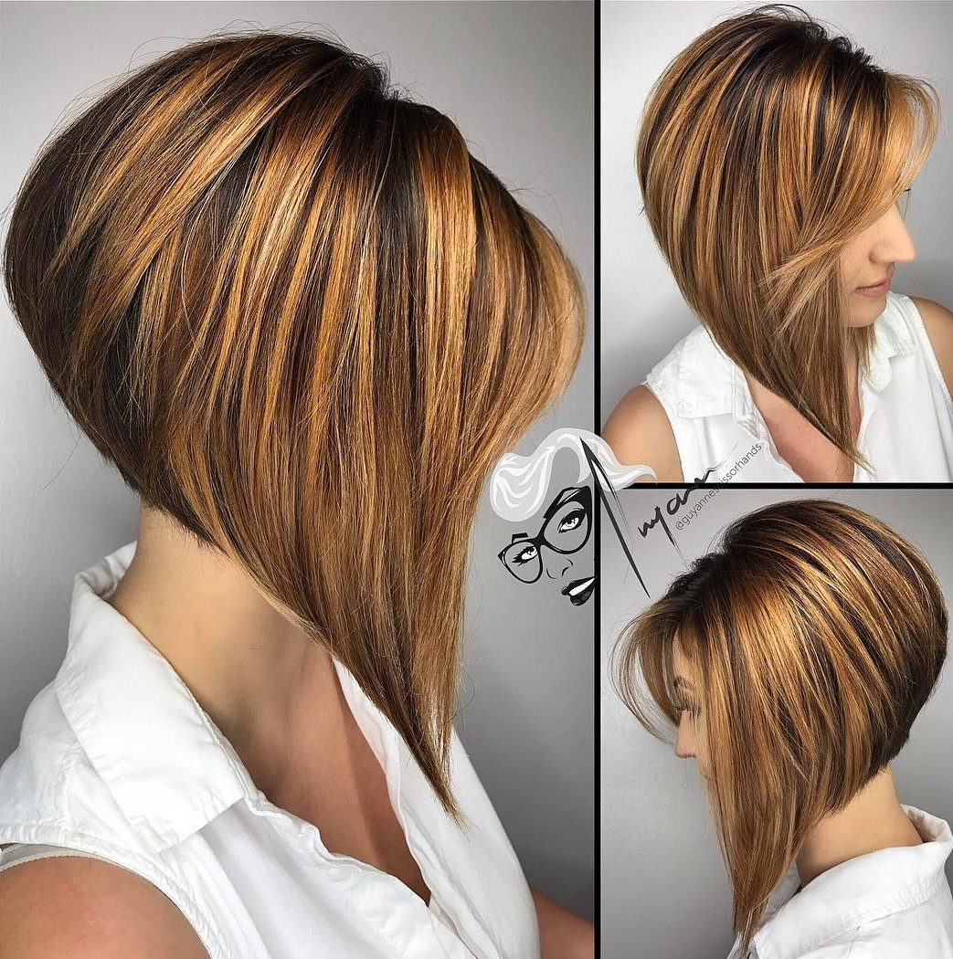 Steeply Angled A-Line Brown Bob with Copper Highlights