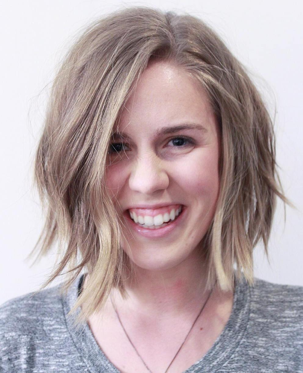 Dishwater Blonde Asymmetrical Choppy Bob