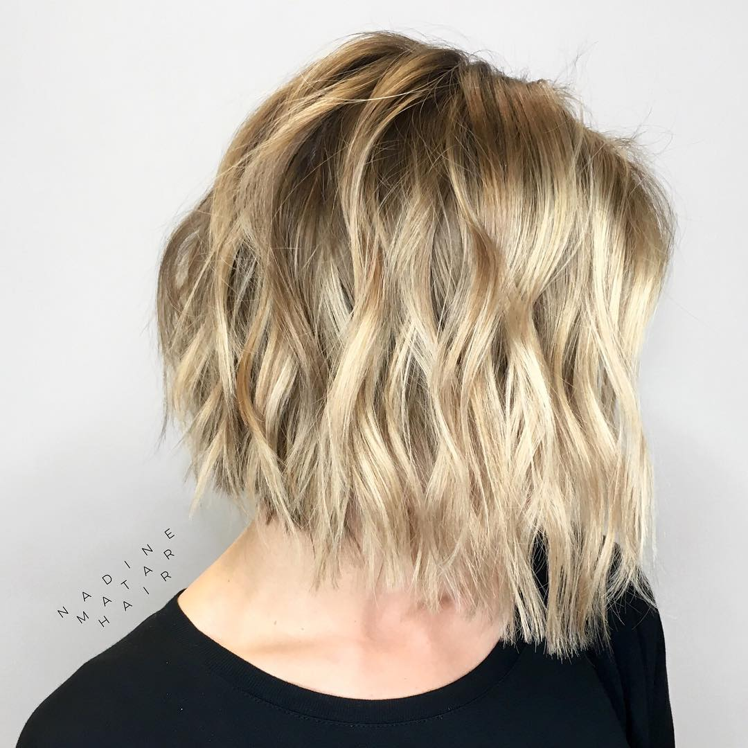 Wavy Choppy Golden Blonde Bob