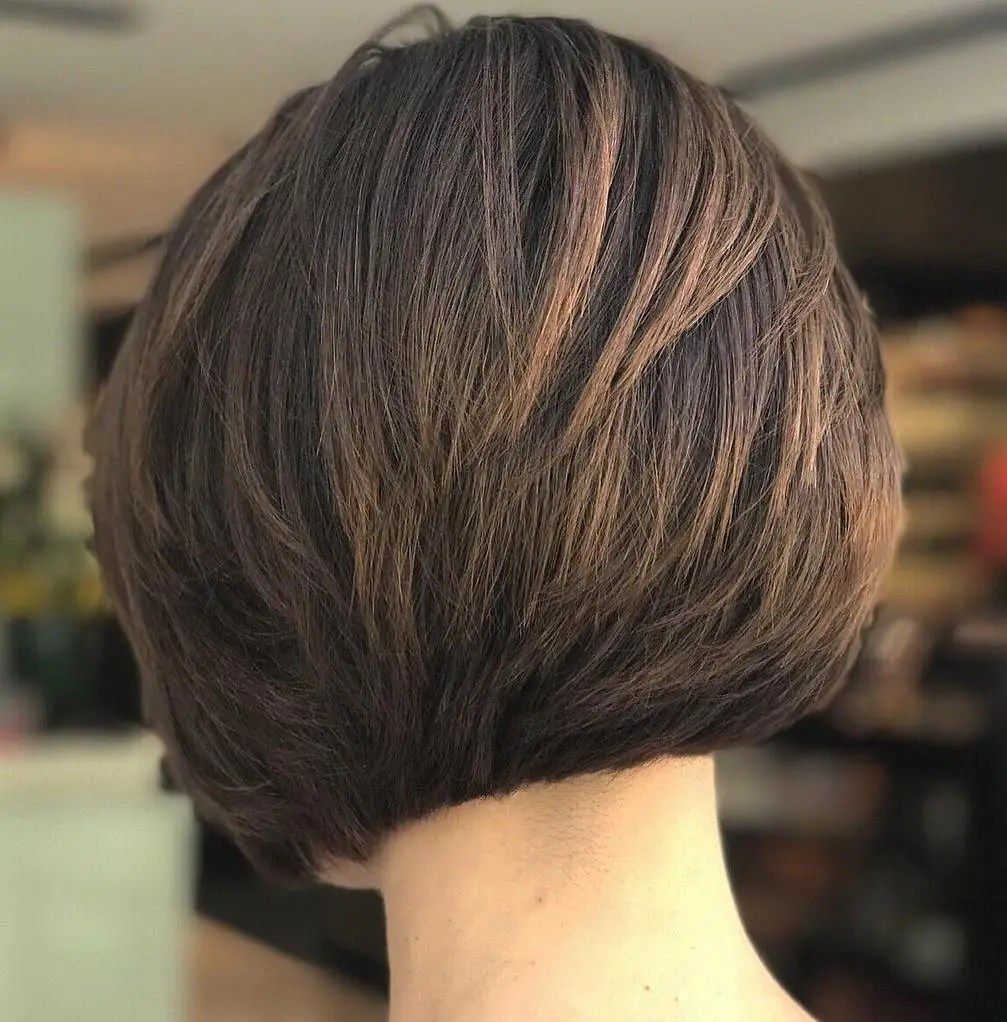 Nape Length Layered Brunette Bob for Thick Hair