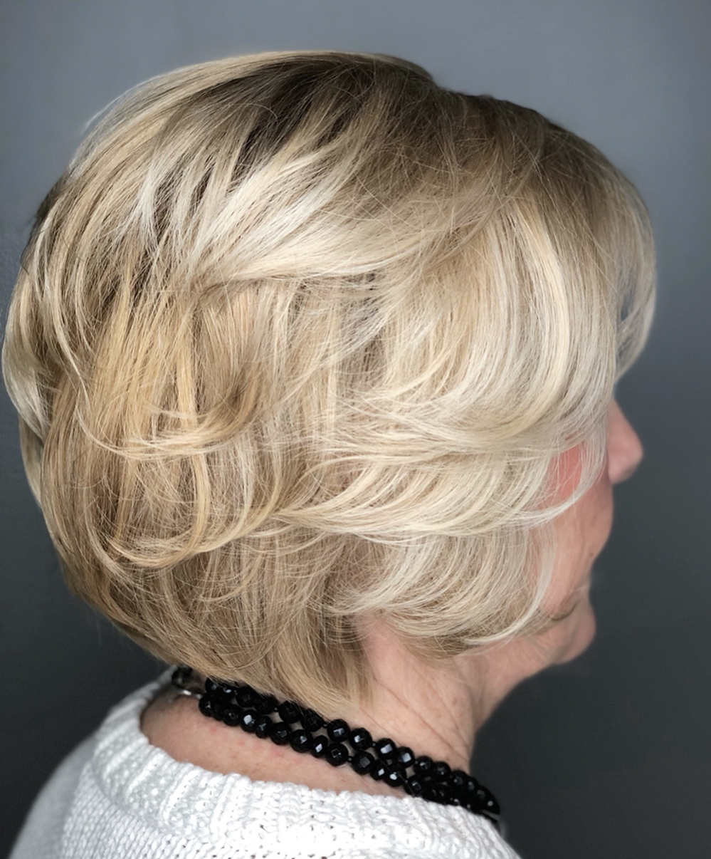 50+ Short Layered Blonde Bob Hairstyle
