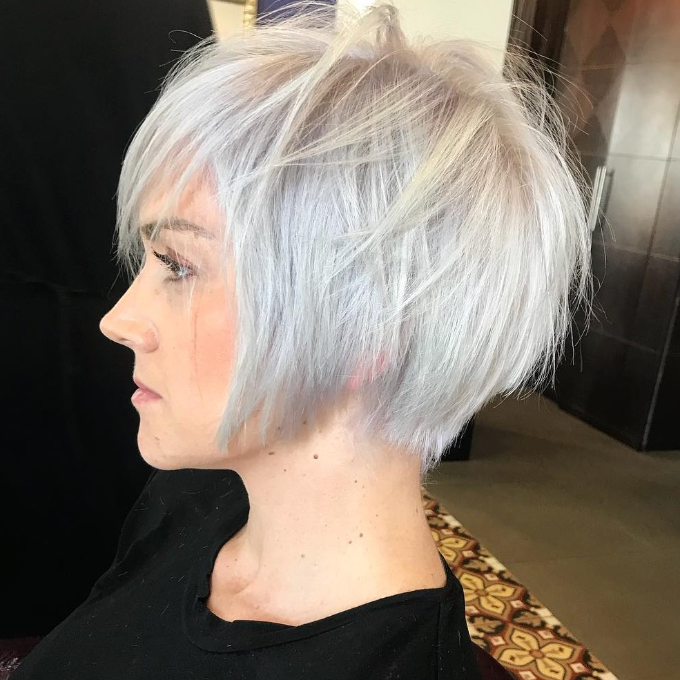 Short Shaggy Silver Blonde Bob