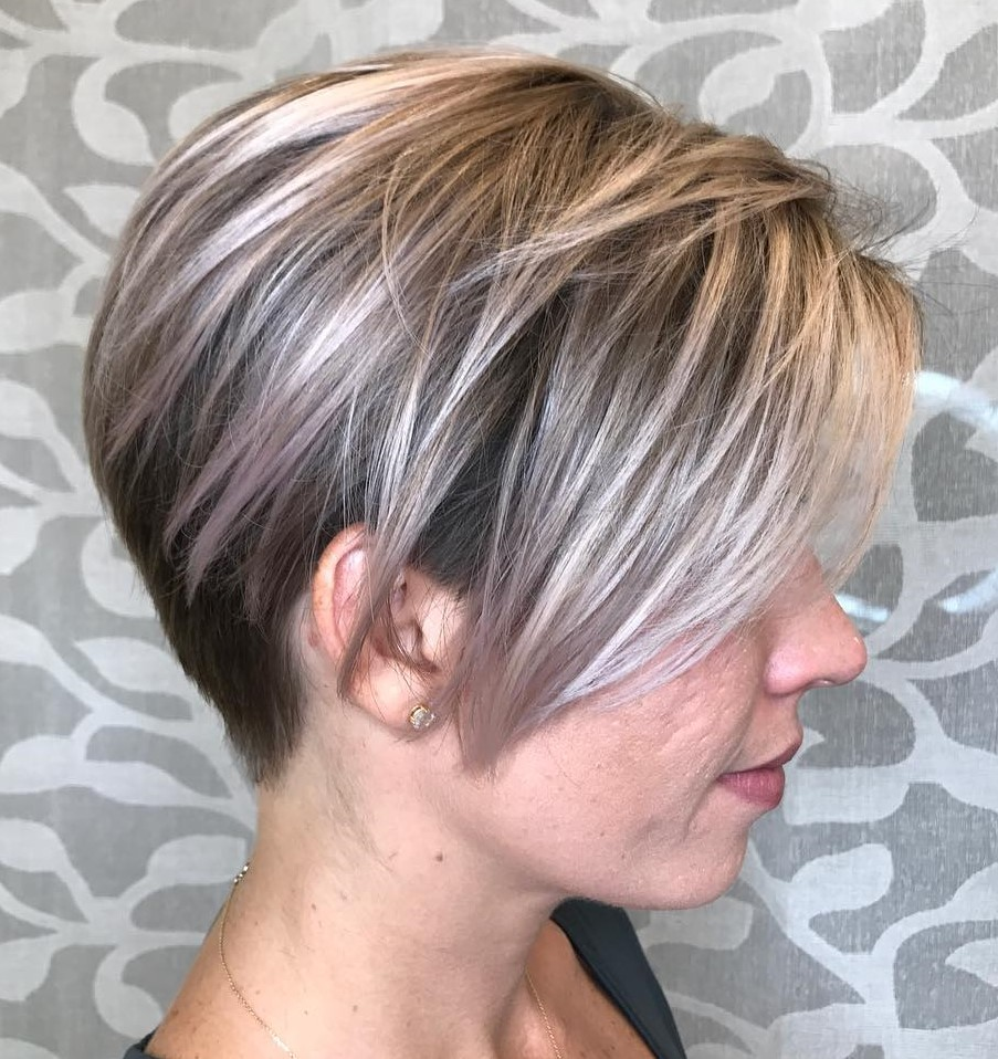 Highlighted Blonde Pixie with Dark Underneath