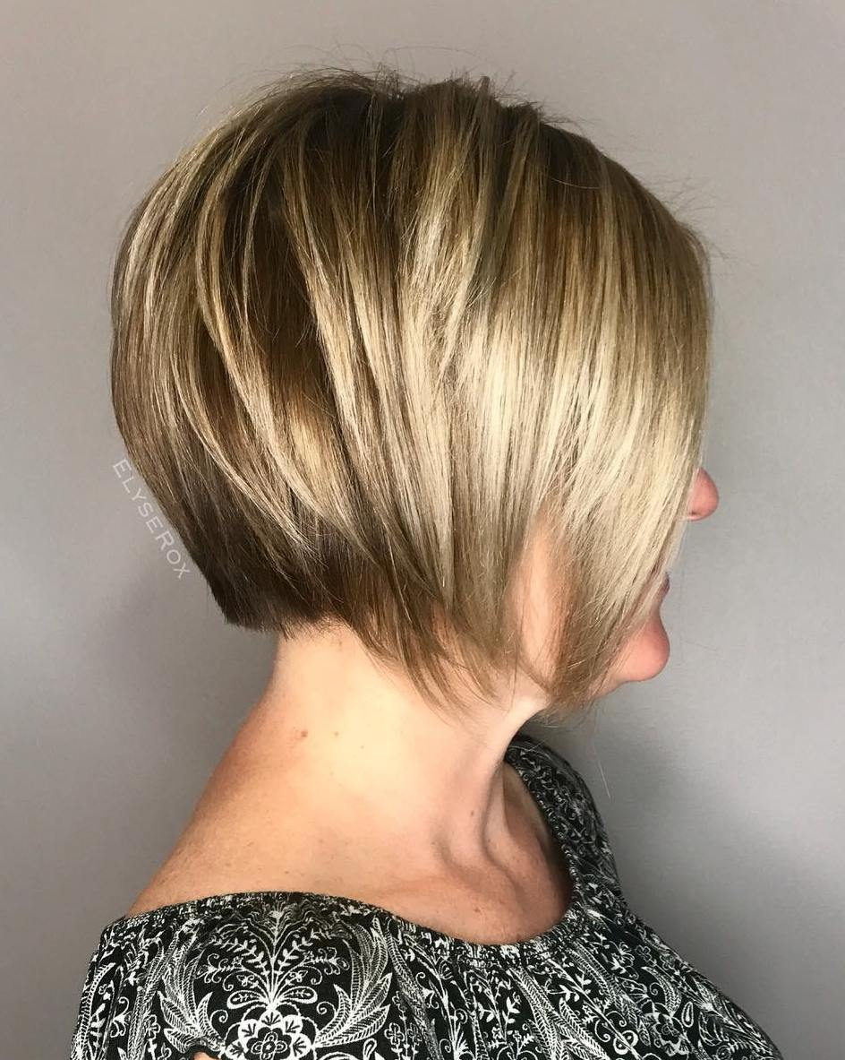 Short Graduated Bronde Bob over 50