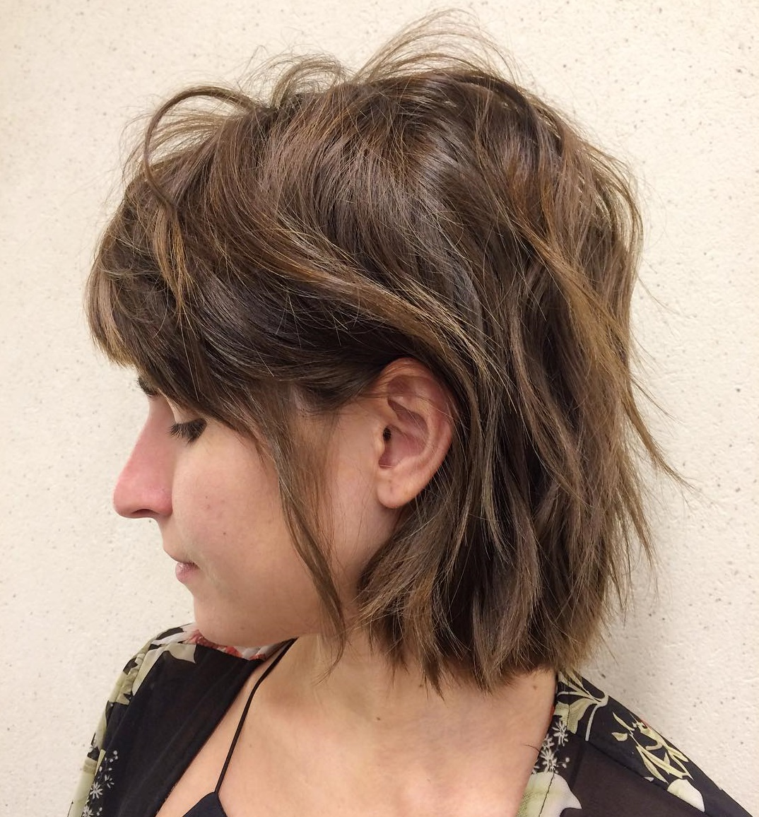 One-Length Bob with Razored Layers for Thick Hair