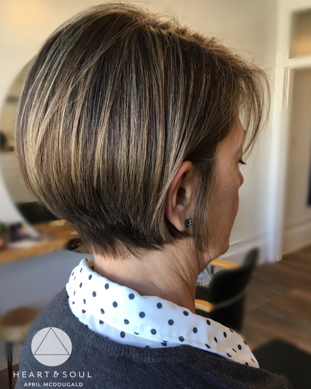 Short Stacked Brunette Bob with Subtle Balayage