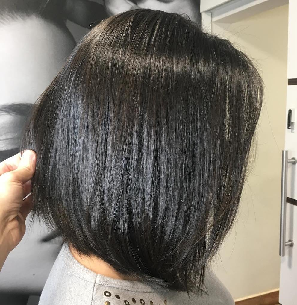 Medium Silky A-Line Bob for Thick Hair