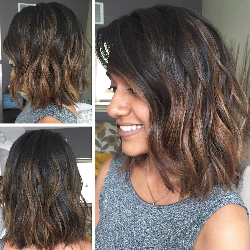 Warm Caramel Brown Balayage Bob for Brunettes with Short Hair