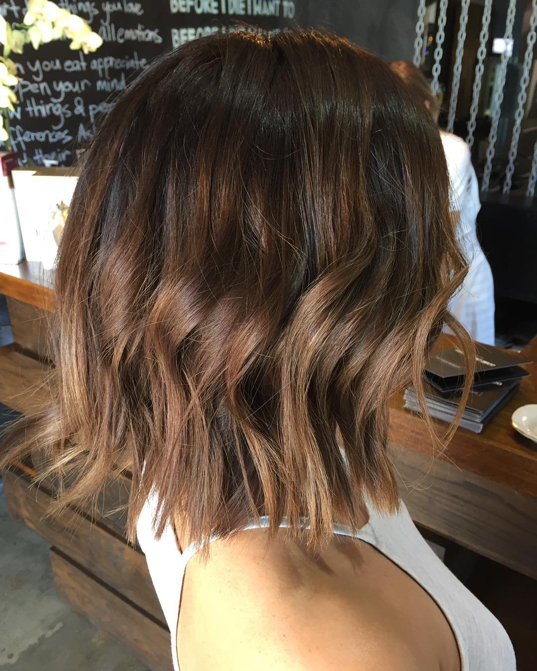Choppy Textured Golden Brown Balayage Bob