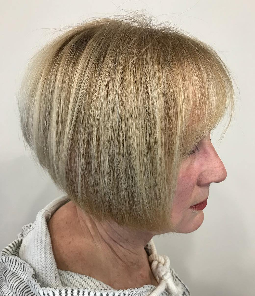Wheat Blonde Inverted Stacked Bob with Bangs