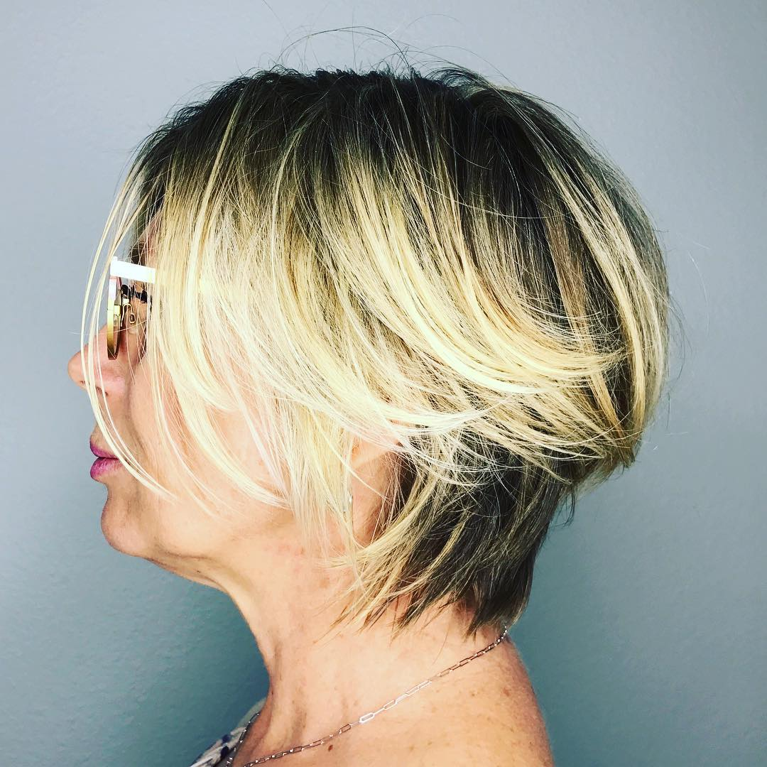 Short Messy Bob with High Contrast Balayage