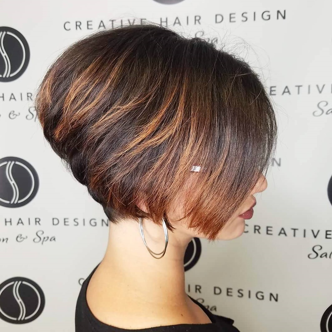 Short Stacked Brown Bob with Highlights and Glasses