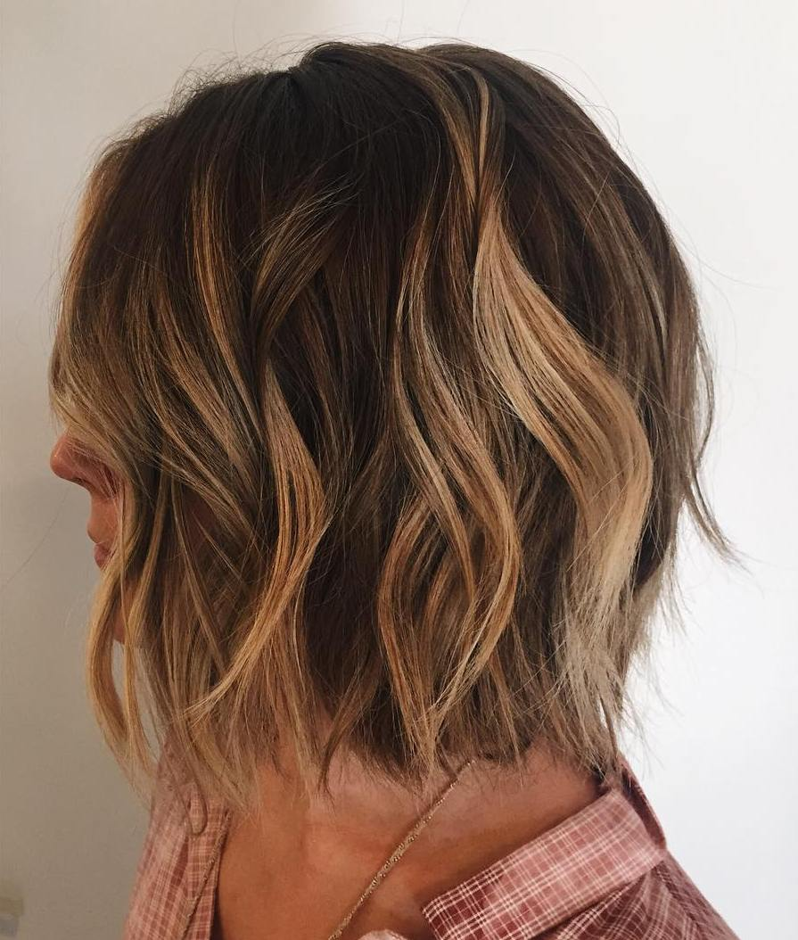 Wavy Choppy Brown Bob with Caramel Highlights