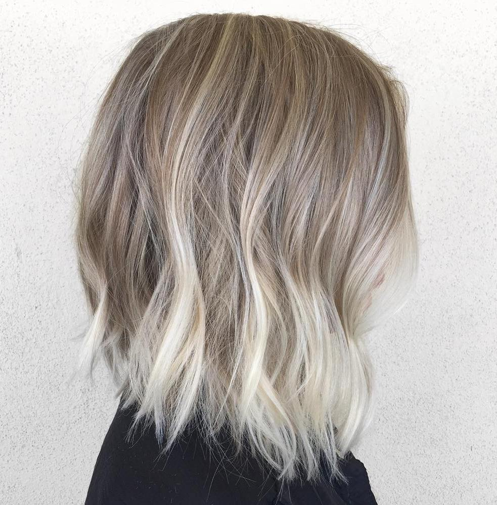 Bronde Choppy Fine Long Bob Hairstyle