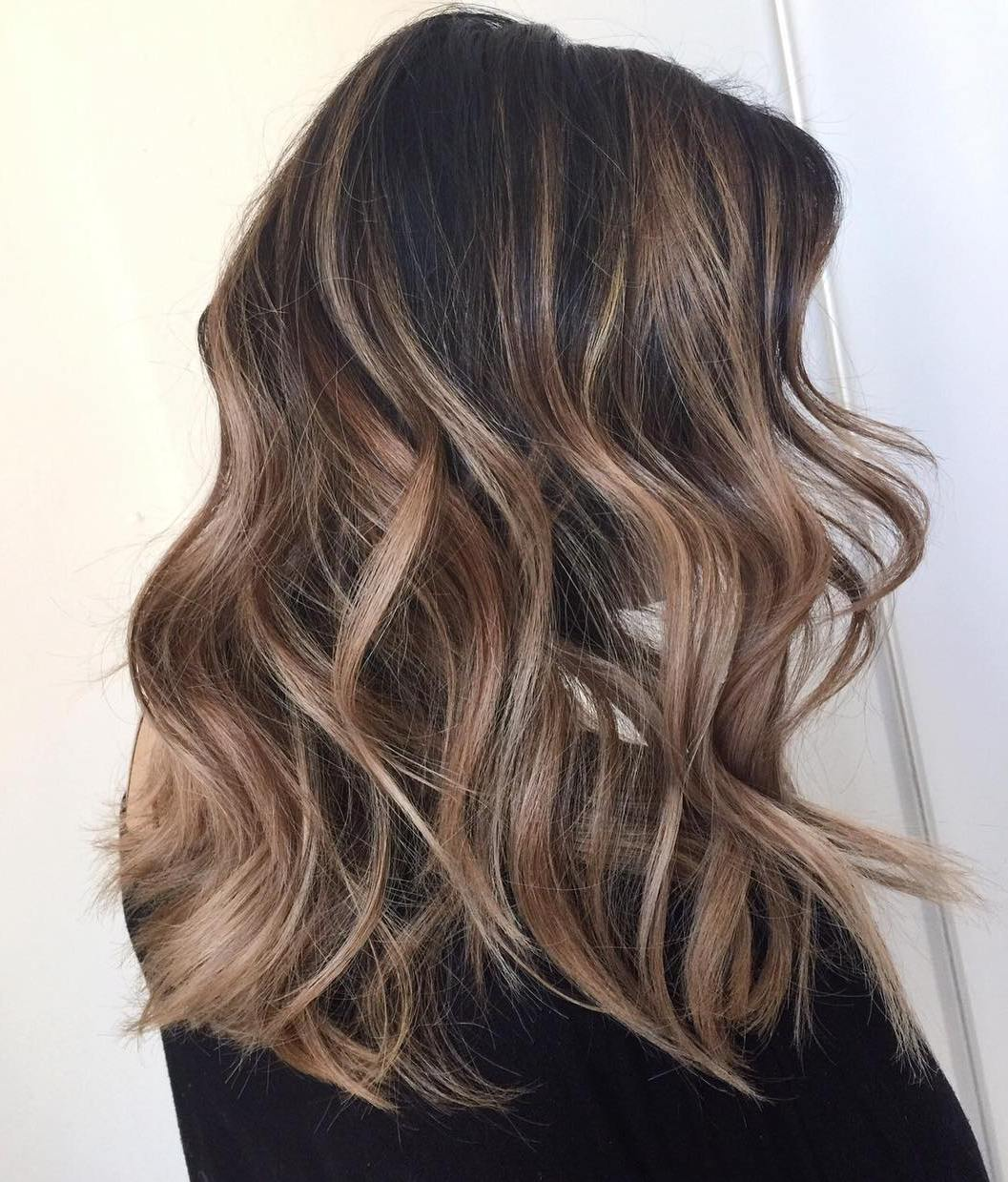 Caramel Brown Balayage for Dark Hair