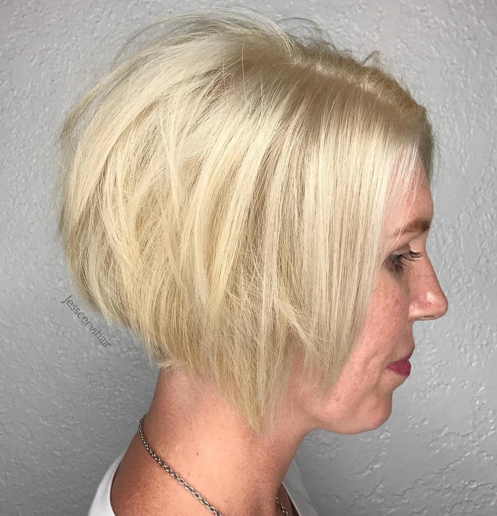 Light Blonde Shag Angled Bob