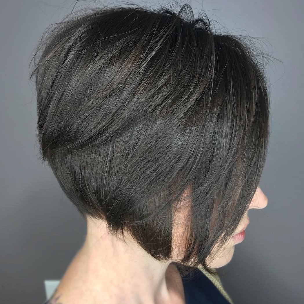 Jaw-Length Layered Textured Brunette Bob