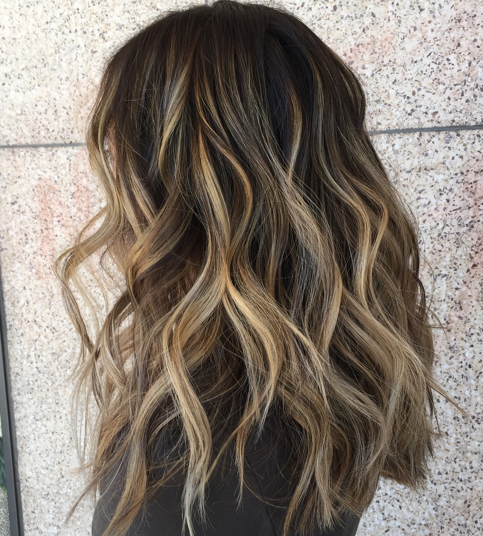 Messy Dark Hair with Bronde Balayage
