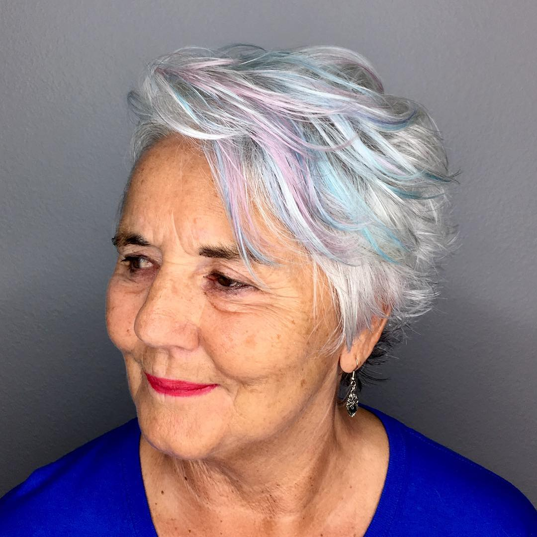Over 50 Silver White Hairstyle with Unicorn Pastel Highlights